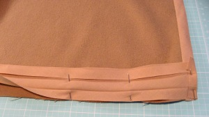Bias Binding Raw Edge of Narrower Side Pinned to Raw Edge of Right Side of Fabric