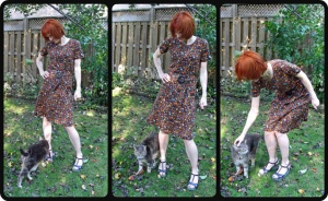 DVF brown polka dot knit dress cat bombed header