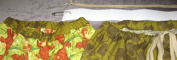 Waistbands with Elastic Casing (left) and Drawstring Casing (right)