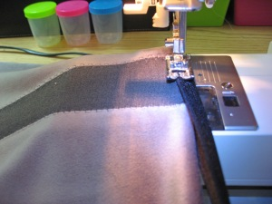 Attach Foldover Elastic at Waist, Stretching as You Sew