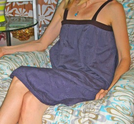 Nightgown in Blue Linen with Embossed Paisley Pattern
