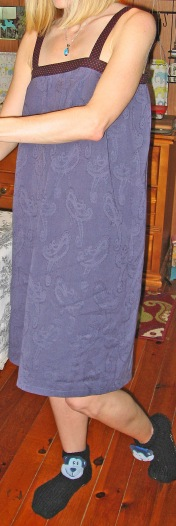 Blue Linen NIghtgown with Embossed Paisley Pattern (and coordinating monkey slippers)