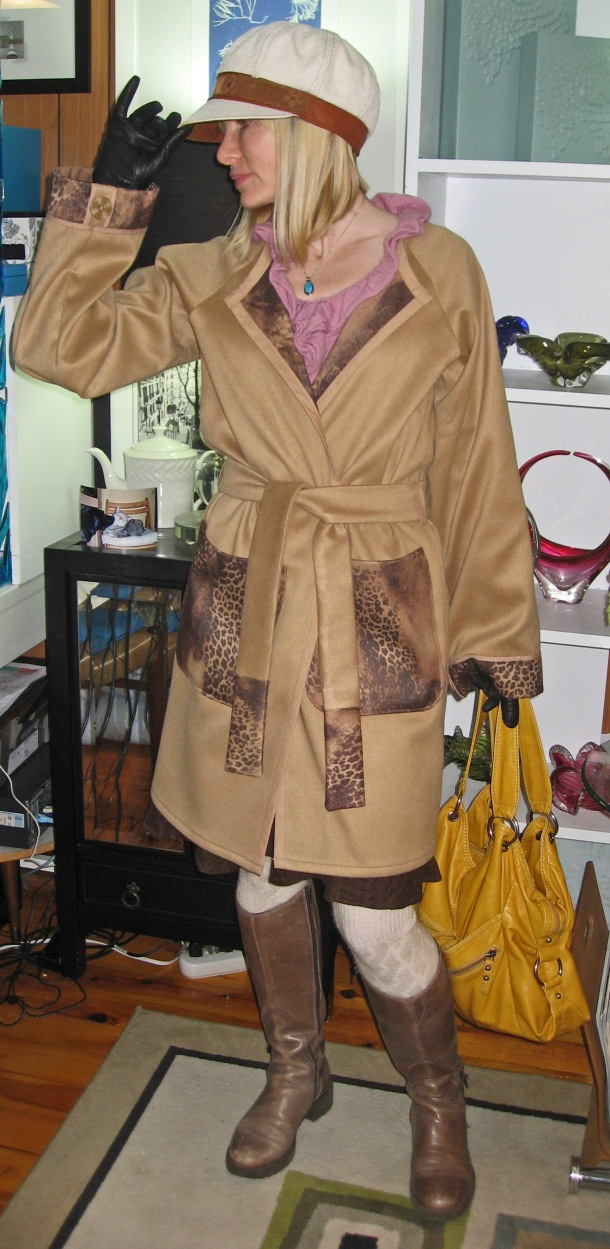 Camel Trench Coat in Animal Print