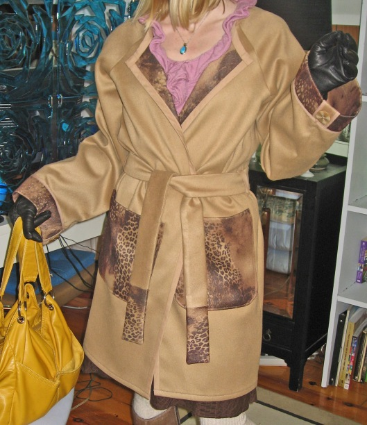 Camel and Animal Print Trench Style Coat