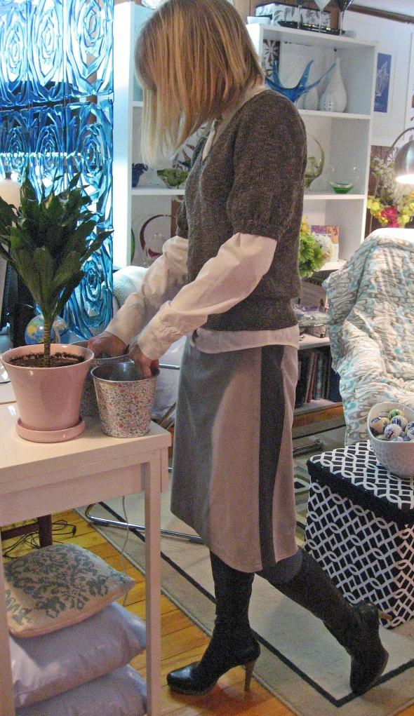 Velvet Skirt with Stretch Knit Side Panels and Foldover Elastic Waistband