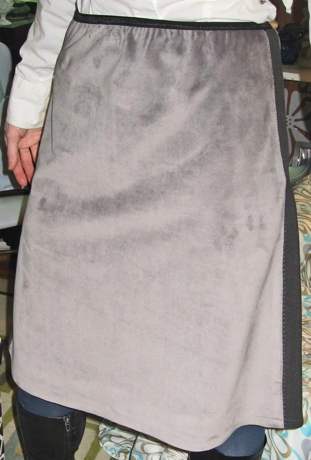 Velvet A-Line Skirt with Side Stretch Panels
