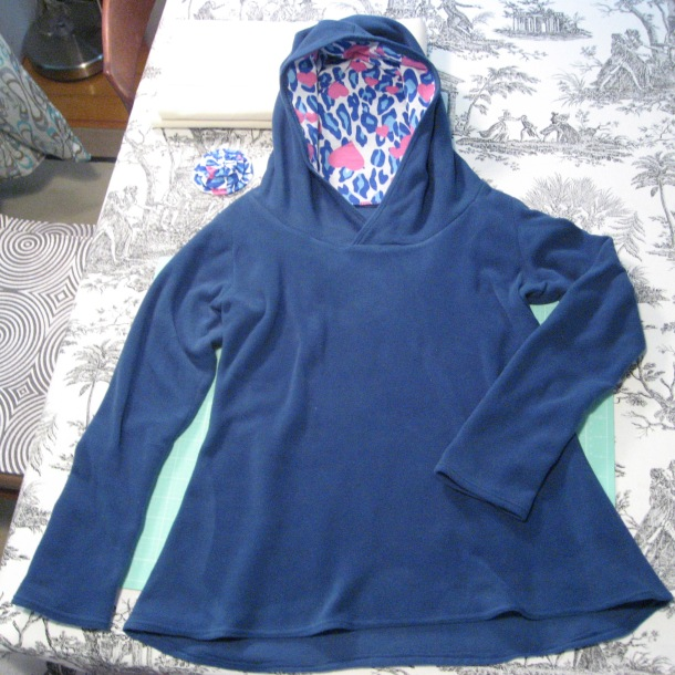 Fleece Hoodie showing hood lining