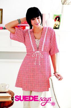 Simplicity Suede Says Kimono Sleeve Tunic