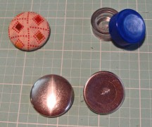 Fabric covered buttons in pocket fabric