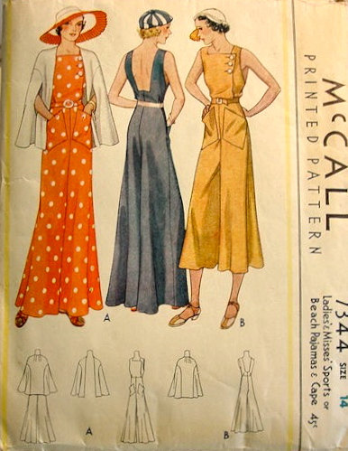1920s Beach Pajamas Jumpsuit Sewing Pattern Gjeometry