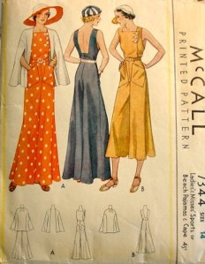 1920s Beach Pajamas McCalls Pattern