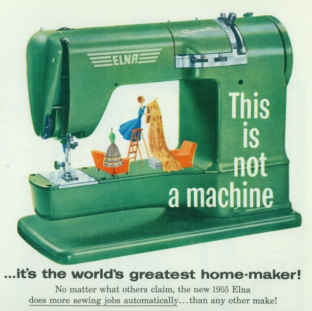 1955 elna sewing machine ad