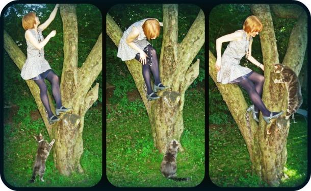 1920s Drop Waist Dress Climbing a Tree with Kitty