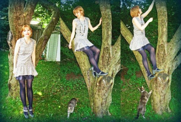1920s Drop Waist Dress Climbing a Tree