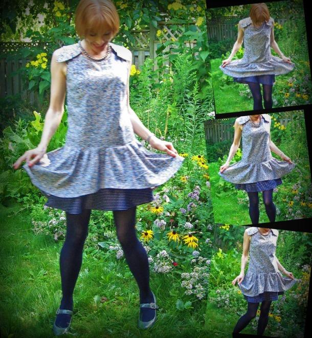Drop Waist 1920s Dress with Underslip