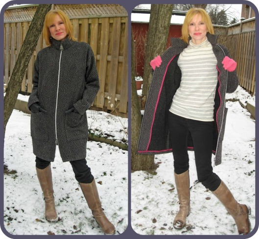 Army Fatigue Coat Front Zipped and Open