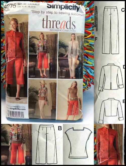 Simplicity 4275, Threads Sewing Pattern.  Includes: 2 styles of jacket, 2 styles of trouser and a short sleeve top.