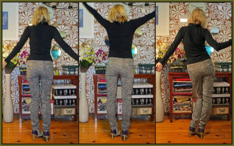 Stretch snakeskin trousers back