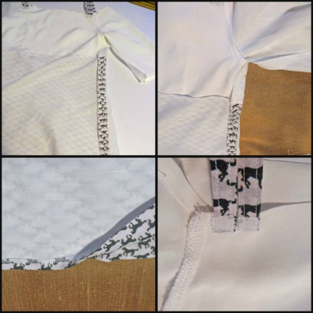 Self-lined bodice and underlined skirt; overlocked seams; hand sewn blind hem; interfaced raw edge straps.