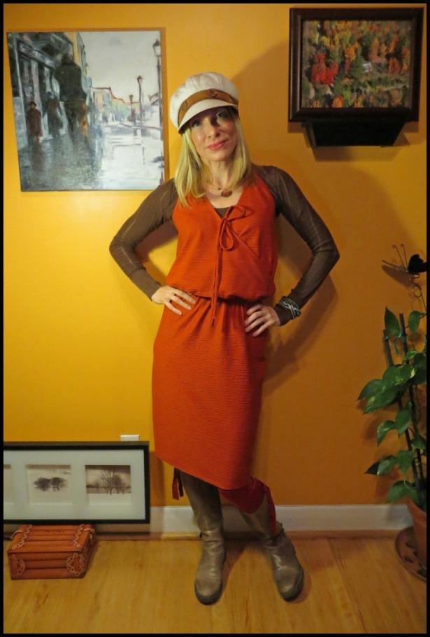 Burda 7512 Autumn Knit Dress Front View