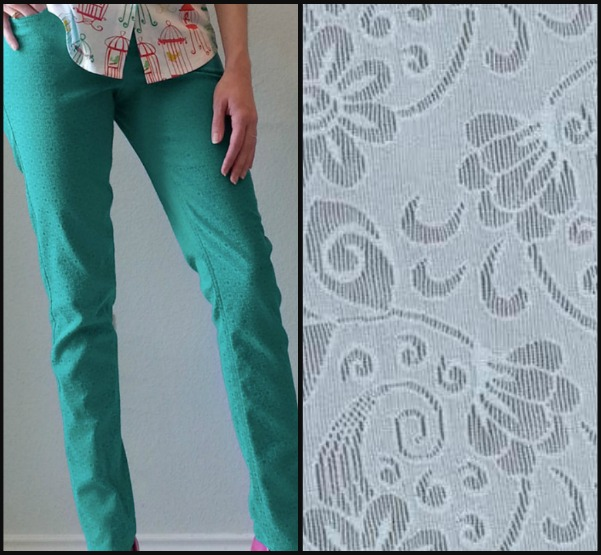 Jacquard Fabric and Brooke's Fabulous Stretch Jacquard Trousers