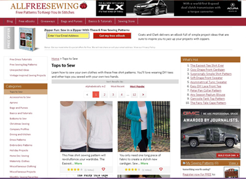 All Free Sewing:  Patterns, Tutorials, E-books