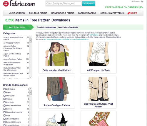 Fabric dot com Free Pattern Downloads
